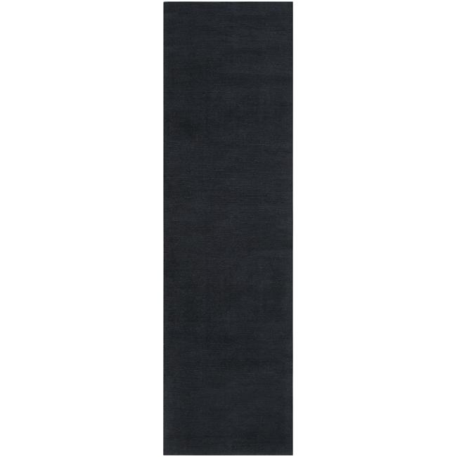 Hand-crafted Navy Blue Solid Causal 'Ridges' Dark Wool Rug (2'6 x 8')