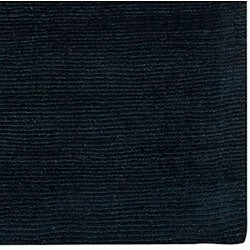 Hand-crafted Navy Blue Solid Causal 'Ridges' Dark Wool Rug (3'3 x 5'3)