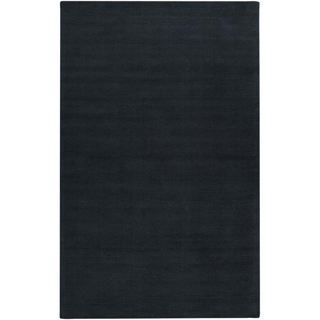 Hand-crafted Navy Blue Solid Causal 'Ridges' Wool Rug (6' x 9')