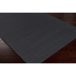 Hand-crafted Solid Black Casual 'Ridges' Wool Rug (9' x 13')