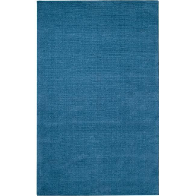 Hand-crafted Teal Blue Solid Casual 'Ridges' Wool Rug (5' x 8')