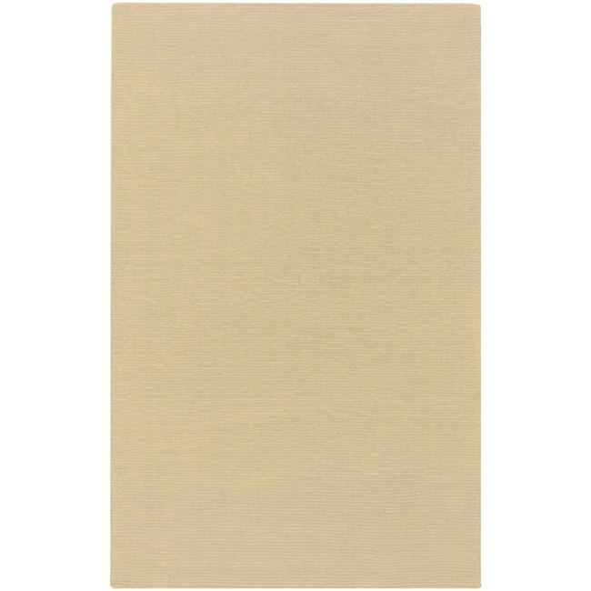 Hand-crafted Light Yellow Solid Causal 'Ridges' Wool Rug (12' x 15')