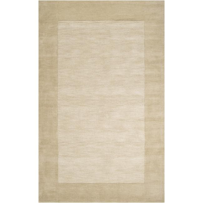 Hand-crafted Beige Tone-On-Tone Bordered Wool Rug (12' x 15')