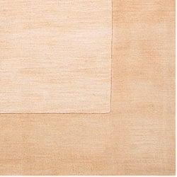 Hand-crafted Beige Tone-On-Tone Bordered Wool Rug (5' x 8')