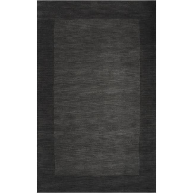 Hand-crafted Black Tone-On-Tone Bordered Wool Rug (5' x 8')