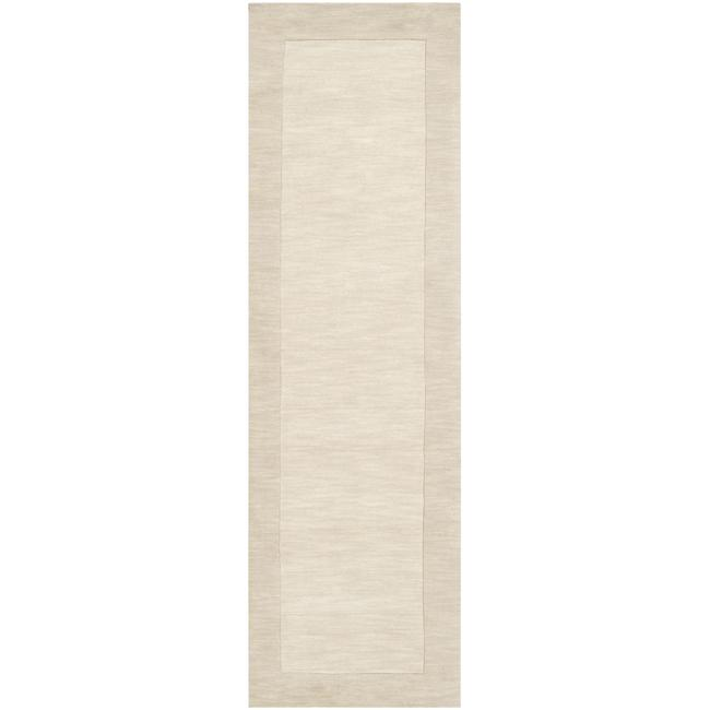 Hand-crafted White Tone-On-Tone Bordered Wool Rug (2'6 x 8')