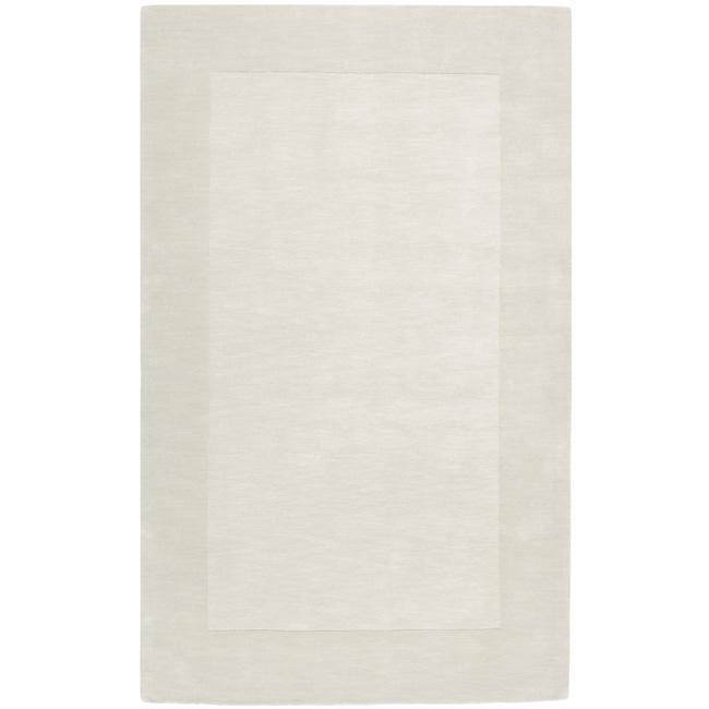Hand-crafted White Tone-On-Tone Bordered Wool Rug (8' x 11')