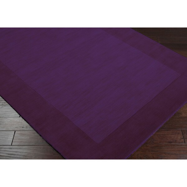Hand Crafted Purple Tone On Tone Bordered Wool Rug 5 X 8