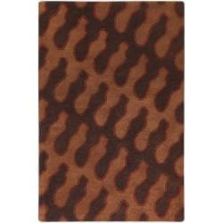Hand-tufted Contemporary Brooklyn Chocolate Wool Abstract Rug (5' x 8')