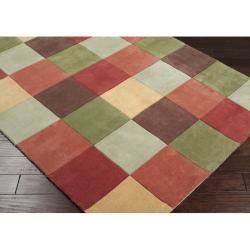 Hand-tufted Contemporary Splatter Multi Colored Squares Wool Geometric Rug (3'6 x 5'6)