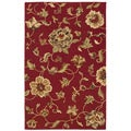 Hand-tufted Red Floral Wool Rug (5' x 7'9)