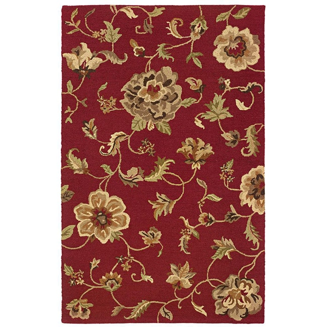 Hand-tufted Red Floral Wool Rug (7'9 x 9'9)