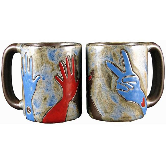 Set of 2 Mara Stoneware 16-oz Hands Mugs (Mexico)