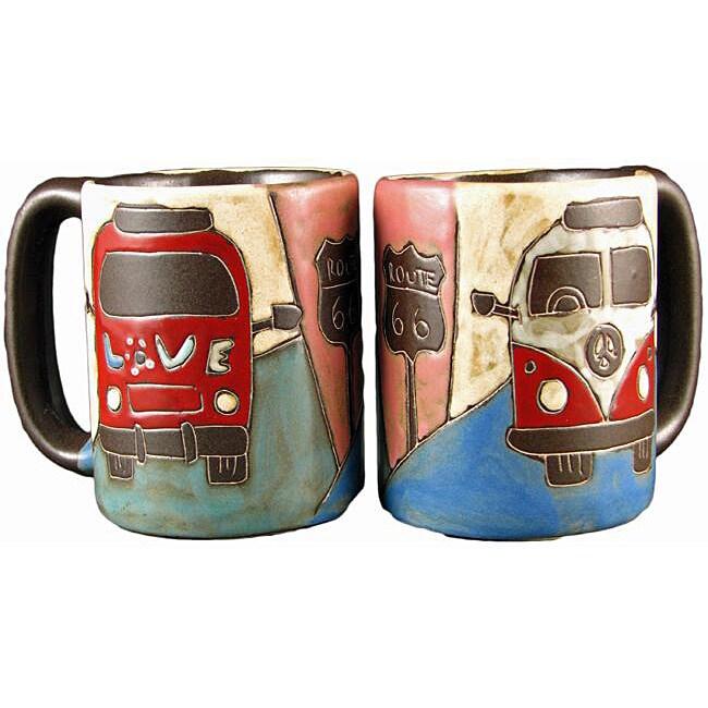 Set of 2 Mara Stoneware 16-oz Van Mugs (Mexico)