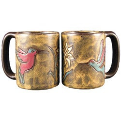 Set of 2 Mara Stoneware 16-oz Hummingbird Mugs (Mexico)