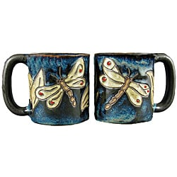 Set of 2 Mara Stoneware 16-oz Dragonfly Mugs (Mexico)