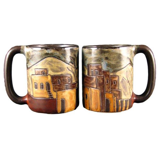 Set of 2 Mara Stoneware 16-oz Pueblo Mugs (Mexico)