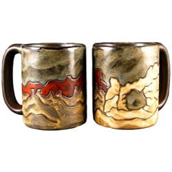 Set of 2 Mara Stoneware Red 16-oz Desert Mugs (Mexico)