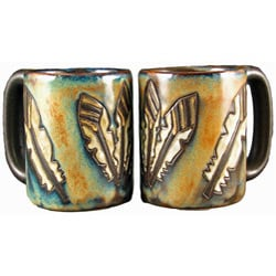 Set of 2 Mara Stoneware Turquoise 16-oz Desert Mugs (Mexico)