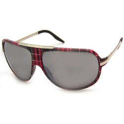 Airwalk Women's 'Ollie' Pink Plaid Aviator Sunglasses