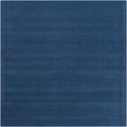Hand-crafted Solid Blue Causal Ridges Wool Rug (8' Square)
