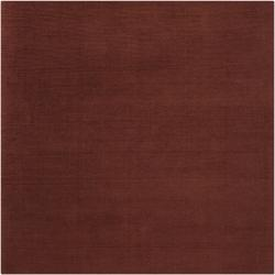 Hand-crafted Rust Red Solid Casual Ridges Wool Rug (8' Square)