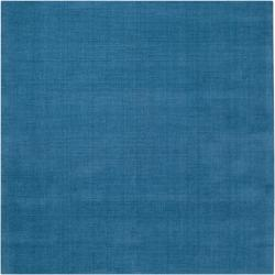 Hand-crafted Teal Blue Solid Casual Ridges Wool Rug (8' Square)