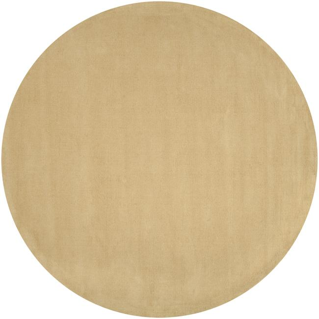 Hand-crafted Light Yellow Solid Causal Ridges Wool Rug (8' Round)