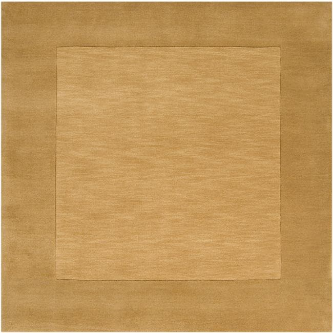 Hand-crafted Gold Tone-On-Tone Bordered Wool Rug (8' Square)