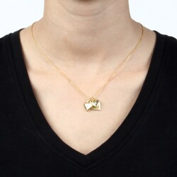 Goldtone Triple Heart Crystal 'Love' Charm Necklace