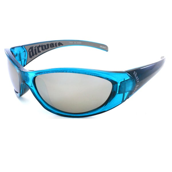 Airwalk Men's 'Aerial' Blue and Grey Wrap Sunglasses