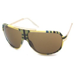 Airwalk Men's 'Ollie' Yellow Plaid Aviator Sunglasses