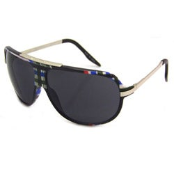 Airwalk Men's 'Ollie' Black Plaid Aviator Sunglasses
