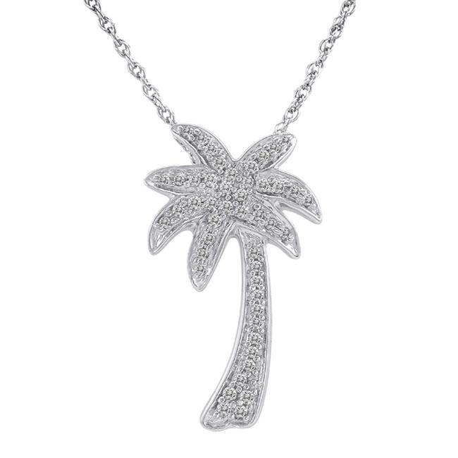 Sterling Silver 1/4ct TDW Diamond Palm Tree Fashion Necklace (H-I, I2-I3)