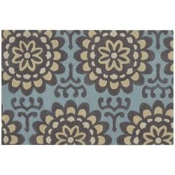 Amy Butler Blue Floral Hand-tufted New Zealand Wool Area Rug (7'9 x 10'6)
