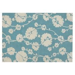 Amy Butler Blue Floral Hand-tufted New Zealand Wool Rug  (7'9 x 10'6)