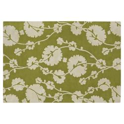 Amy Butler Green Floral Hand-tufted New Zealand Wool Rug (7'9 x 10'6)