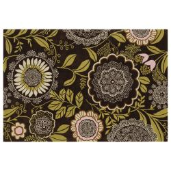"Amy Butler Brown Floral Hand-Tufted New Zealand Wool Area Rug (7'9"" x 10'6"")"