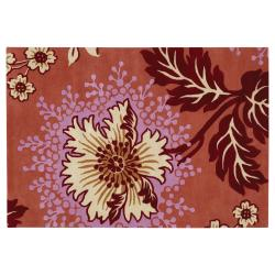 Amy Butler Orange Floral Hand-tufted New Zealand Wool Rug (7'9 x 10'6)