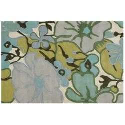 Amy Butler Grey Floral Hand-Tufted Contemporary New Zealand Wool Rug (5' x 7'6)