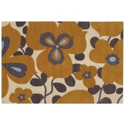 Amy Butler Gold Floral Hand-tufted New Zealand Wool Rug (7'9 x 10'6)
