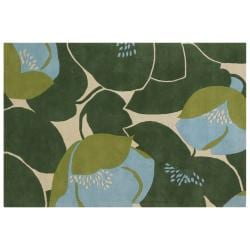 Amy Butler Blue Floral Hand-tufted New Zealand Wool Rug (5' x 7'6)