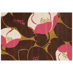 Amy Butler Brown Floral Hand-tufted New Zealand Wool Rug (7'9 x 10'6)