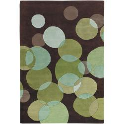 Avalisa Brown with Green Geometric Hand-tufted New Zealand Wool Rug (5' x 7'6)