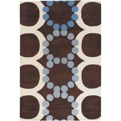 Avalisa Brown with Ivory Geometric Hand-tufted New Zealand Wool Rug (5' x 7'6)