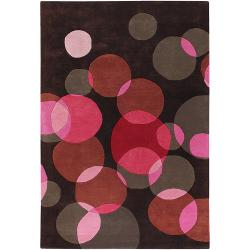 Avalisa Brown/Red Bubbles Geometric Hand-Tufted New Zealand Wool Rug (7'9 x 10'6)