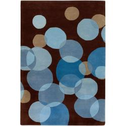 Avalisa Brown with Blue-grey Geometric Hand-tufted New Zealand Wool Rug (5' x 7'6)