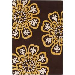 "Counterfeit Studio Brown/Yellow Floral Hand-Tufted New Zealand Wool Rug (7'9"" x 10'6"")"