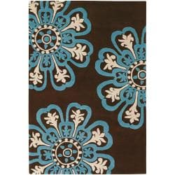 Counterfeit Studio Brown Floral Hand-tufted New Zealand Wool Rug (7'9 x 10'6)