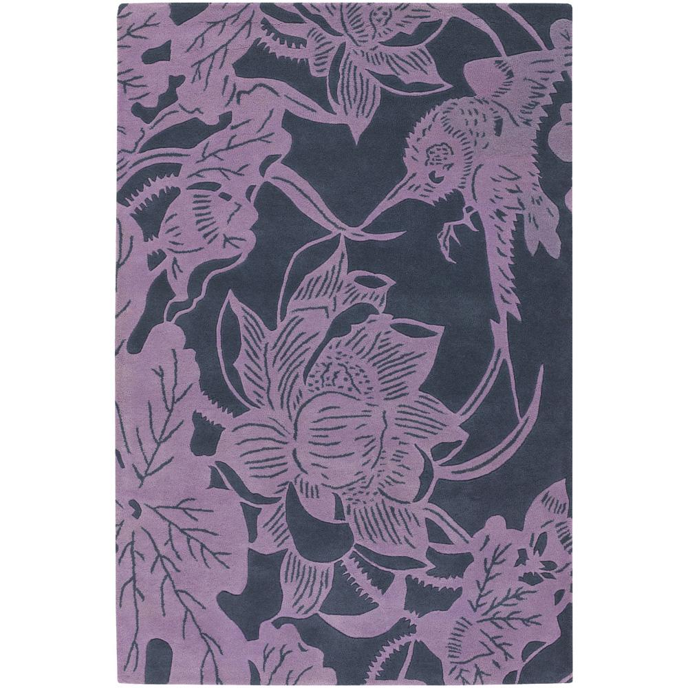 Counterfeit Studio Purple Floral Hand-tufted New Zealand Wool Rug (5' x 7'6)